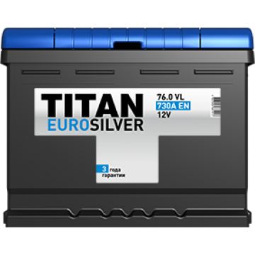 Аккумуляторная батарея TITAN EUROSILVER 6СТ-76.0 VL о.п.  (730А)